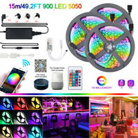 15M LED WIFI Strip Light RGB 5050 Smart Home App for Alexa Google Home 3x 5M 12V