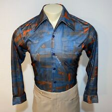 Vtg 60s 70s Joel California Abstract Disco Polyester shirt Stretch Mens Medium
