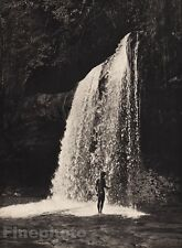 1940's Original BORNEO MALE NUDE Muscle Man Waterfall Photo Gravure By K.F. WONG
