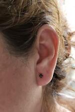 14Kt oro 0.25 CT Corte Diamante Negro Rosa Natural Genuino Aretes redonda