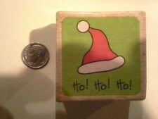 Ho! Santa hat wood mounted Rubber stamp - some discoloration - damage discolorat
