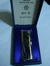 Vintage New Old Stock Gas Luxury Electronic Lighter NOBLE EC 5 Gold Tone & Green