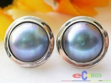P1707 REAL 20MM BLUE SOUTH SEA MABE PEARL EARRING SILVER