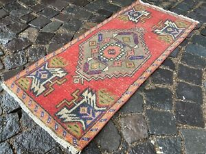 Carpet, Turkish rug, Vintage rug, Doormats, Handmade rug 1,4 x 3,3 ft