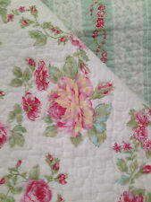SHABBY COTTAGE FRENCH COUNTRY CHIC 3P FULL QUEEN QUILT SHAMS SET PINK AQUA WHITE