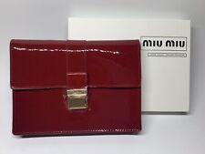 NIB MIU MIU Clutch Bag Cosmetic Makeup Case Red Patent W/ Gold Snap Buckle
