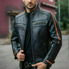 Men's Black Lambskin Jacket Cafe Racer Retro Slim fit Biker Real Leather Jacket
