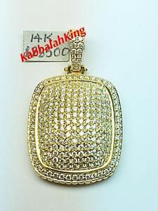 14k Yellow Gold Genuine Diamond 6.20ct G-SI1 Large Pave Dog Tag Hip Hop Pendant