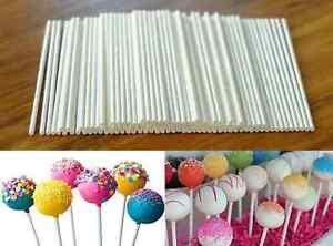 100pcs Plastic Lollipop Lolly Candy Pop Sucker Sticks Chocolate Cake Cookie US