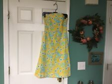 4c454ef1d9c91a Women's LILLY PULITZER Yellow Open Back Lined Strapless Dress Size 2 (CON5)