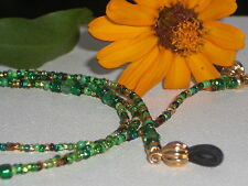 """Eyeglass Chain~Green/Gold Mix~Crystal Accents~GP Fancy Ends~28""""~Buy 3 SHIP FREE"""
