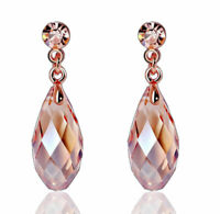 18k Rose Gold GP Teardrop Crystal Long Dangle Earrings Lady Stud Earrings Gift