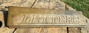 Letters Brass Drop Box Door, Vintage Letters Mail Deposit Cover, Brass Sign,