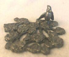 "New listing Vintage 1981 Metzke Small 3.5"" Pewter Trivet Bird Dogwood Flower Blossoms"