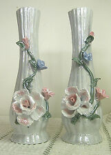 """Pair of 7"""" Ceramic Bud Vases, Iridescent Silver White Color, Embossed Floral"""