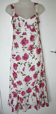 Per Una UK8R EU36R white cotton lined sleeveless dress with pink rose patterning