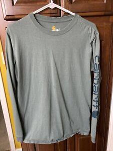 Carhartt Women's Signature Logo L/S T Shirt - Green - Size Medium