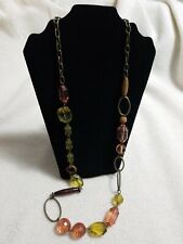 - Wood, Amber, Olive Bronze Long Beaded Necklace
