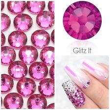 Swarovski X 50 Mixed Size Fuchsia Hot Pink Glue on Crystals Rhinestones Nail Art