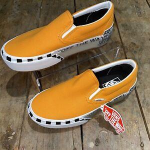 🔥Vans Wmns 9 / Men's 7.5 Marigold/Orange/White Logo Classic Slip-On Stacked