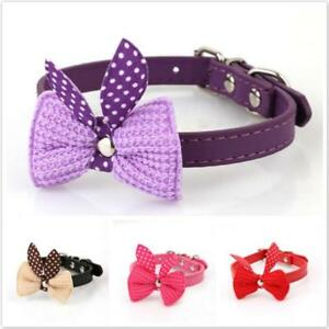 1pc Bowknot Adjustable PU Leather Collars Necklace For Pet Dog Puppy Cat Decor