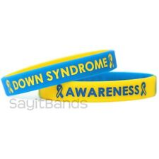 2 Down Syndrome Bracelets - Debossed Color Filled Silicone Awareness Wristbands
