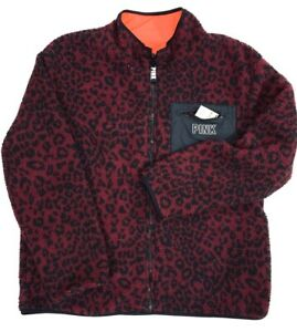 $89 Victorias Secret PINK Sherpa Fleece Leopard Full Zip Reversible Pullover S L