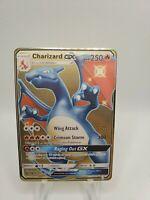 Charizard GX SV49/SV94 Hidden Fates Shiny Custom Gold Metal Textured Card