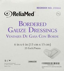 2 BOXES!! *DEAL* Bordered Gauze 6 X 6 Latex-Free Sterile Dressing Reliamed =50!
