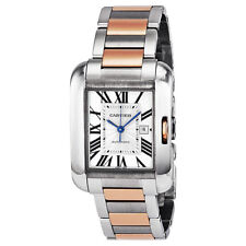 Cartier Tank Anglaise Medium Automatic Silver Dial 18 kt Rose Gold and Steel