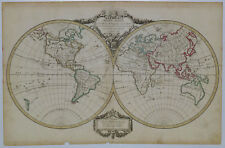 1786 Genuine Antique double hemisphere world map. Mappe-Monde. De Vaugondy