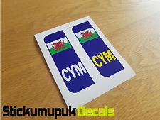 Pair of Welsh Flag Car Number Plate Vinyl Stickers UK legal Peel & Stick