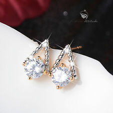 18k white yellow gold made with SWAROVSKI crystal stud earrings fashion attitude
