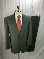 Hart Schaffner Marx Glen Plaid Gray Wool Suit 40R 34 x 29