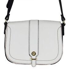 Liz Clairborne Womens White Black Faux Leather Crossbody Strap Satchel Purse Bag