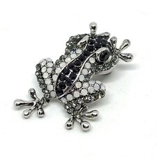 ADORABLE Vintage Small Silver Tone MULTI COLORED Rhinestone FROG BROOCH 1 1/2""