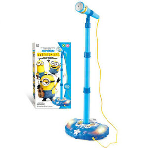 Minions Blue Stand Music Microphone Musical Voice TOY Sound Light Kid TOY