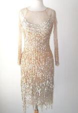 BLUMARINE Gold Silver Sequin Fringe Tulle Sheer Dress 40 4