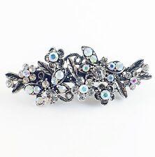 USA BARRETTE Rhinestone Crystal Hairpin Clip Metal Vintage Elegant Silver 04
