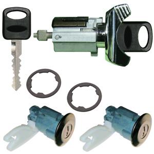 Ford Ignition Key Switch Lock Cylinder & Two Door Chrome Tumbler Set 2 Keys