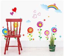 Wandtattoo wandaufkleber wandsticker Kinderzimmer Regenbogen blume herz f014