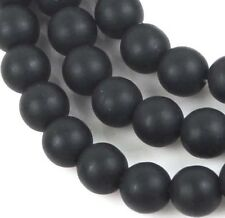 50 Czech Frosted Sea Glass Round Beads - Matte - Jet 6mm