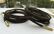 Black Strong Shoelaces w Gold Metal Tip Hiking Walking Skate Boots Shoe Lace