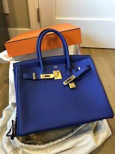 HERMèS Birkin Bag 30 Togo Blue Electric Gold Hardware GHW