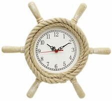 Lovely Shabby Chic Nautical Ship Wheel Clock Wooden Wall Decoration