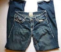 LA Idol USA Women's Size 9 Jeans Medium Wash Heavy Stitching Embellished - N1