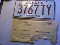 1 STAMPED ALASKA COMMERCIAL TRAILER LICENSE PLATE 3767TY UNUSED ORIGINAL 1976