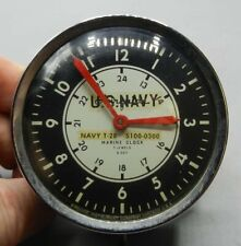Us Navy T-28 5100-0300 Marine Clock 7 Jewels 8 Day - Airguide Instrument Co