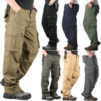 Mens Military Combat Cargo Pants Multi Pocket Casual Outdoor Work Long Trousers