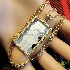 9ct gold New bullion bar lady luck pendant with 10g fine silver ingot & chain